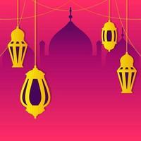 linterna islámica árabe para el fondo de ramadan kareem eid mubarak vector