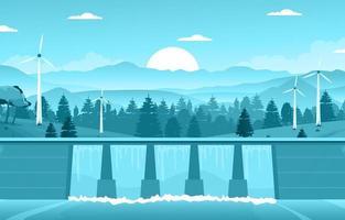 río que fluye a través de la gran presa ilustración