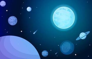 Escena espacial con planeta, estrellas, sol y luna ilustración vectorial plana