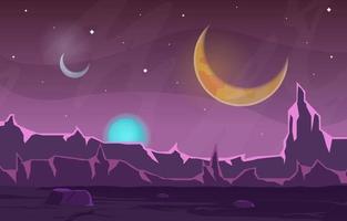 superficie del paisaje de ciencia ficción fantasía planeta ilustración vector