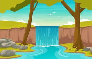 Escena del bosque con hermosa cascada y río. vector
