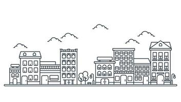 Thin line City landscape. Downtown landscape with high skyscrapers on white background vector