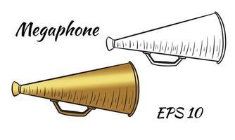 Ilustración de un megáfono, altavoz vector