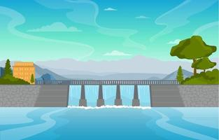 río que fluye a través de la gran presa ilustración vector