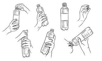 agua en una botella de plástico con manos vector