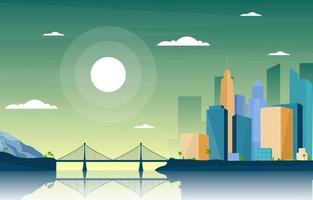 escena del horizonte de la ciudad con río, sol y puente vector