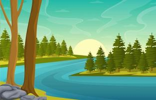 Nature Landscape with Winding River, Mountains, and Forest vector