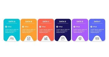 plantilla de diseño de infografía vectorial con seis pasos de opciones
