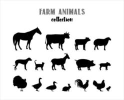 Farm animals vector silhouettes set