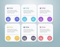 plantilla de diseño de infografía vectorial con opciones de 6 pasos