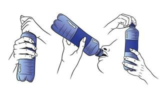 Water in a plastic bottle set vector
