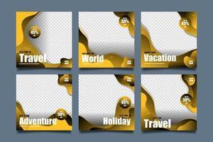 Travel templates for social media post set vector