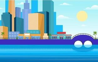 City Skyline with Park, Trees, and River Illustration vector