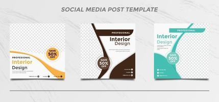 Conjunto de plantillas de diseño de interiores para publicaciones en redes sociales. vector