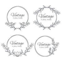 Set hand drawn Floral frame. Floral wreath with leaves for wedding. Decorative elements for design. Vector Illustration