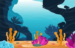 Underwater Scene with Coral Reef Illustration vector