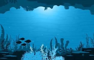 Underwater Scene with Fish and Coral Reef Illustration vector