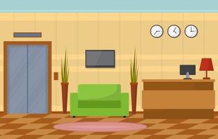 vestíbulo del hotel con mostrador de recepción e ilustración de muebles vector