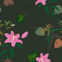 floreciente, hermoso, dulce, rosa, lirio, seamless, patrón vector