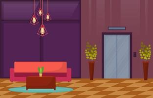 Modern Hotel Lobby with Furniture Illustration vector