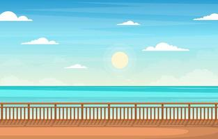 Cruise Ship Deck with Ocean Horizon Illustration vector