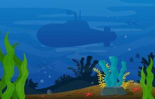 Escena submarina con ilustración de submarinos, peces y arrecifes de coral. vector