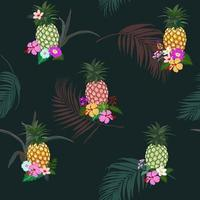 Colorful pineapple with tropical flowers and leaves seamless pattern vector