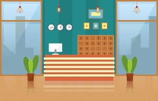 Hotel Lobby with Reception Desk and Furniture Illustration vector