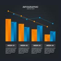 Gráfico de barras decreciente que ilustra la presión económica o los problemas financieros infográficos vector