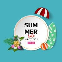 Summer sale background with tropical flowers and leaves vector
