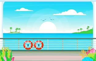 Cruise Ship Deck with Lifebuoy and Ocean Landscape vector