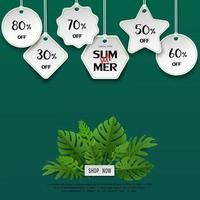 Paper art summer sale template banner with tropical leaves