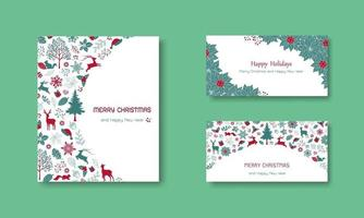Vintage greeting card with text for happy holidays set