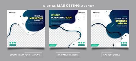 Conjunto de plantillas de publicación de redes sociales de agencia de marketing digital abstracto vector