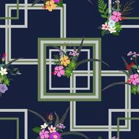 Colorful tropical flowers and leaves seamless pattern on geometric background