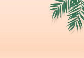 Natural realistic green tropical palm leaves on cream color background vector
