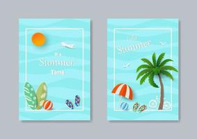 Set of summer template banner paper art concept