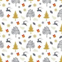Christmas holiday seamless pattern with traditional symbols on white background