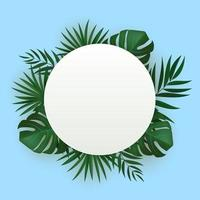 Natural realistic green tropical palm leaves background vector