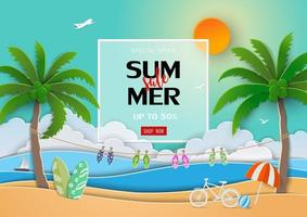 Paper art summer sale background with view of blue sea