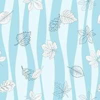 Autumn leaves seamless pattern on blue wavy background