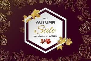 Autumn sale template banner,paper art leaves background with space for text on hexagon frame
