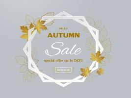 Autumn sale banner design with golden leaves on hexagon frame