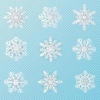 Set of 9 white Christmas snowflakes paper art