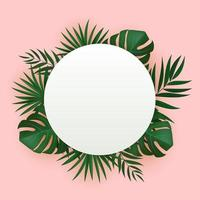 Natural realistic green tropical palm leaves with circle frame vector