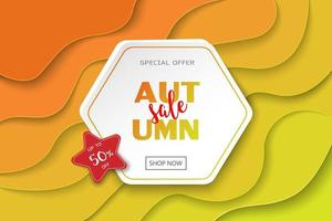 Autumn sale banner design with text on paper cut hexagon