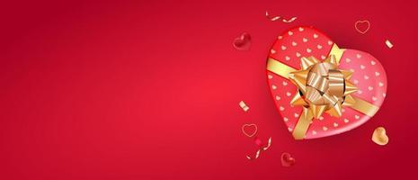 Horizontal Copy Space Valentine's day background with heart gift box vector