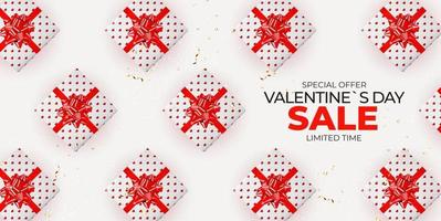 Valentine's day background with gift box pattern vector