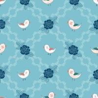 Cute birds in roses garden seamless pattern