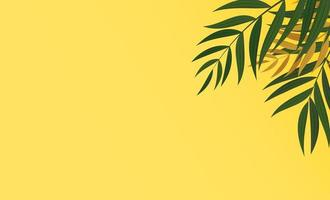 Natural realistic tropical green and gold palm leaves on yellow background vector